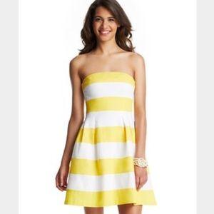 NWT LOFT Yellow White Striped Strapless Dress 6P